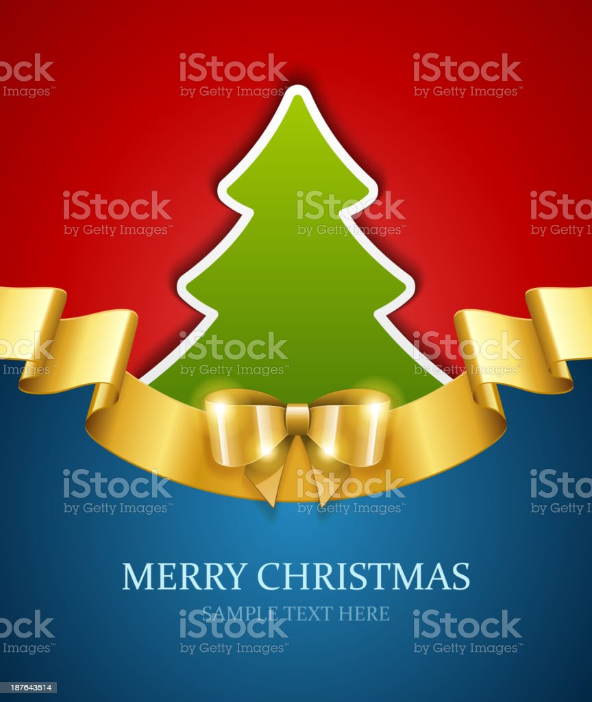 Christmas tree applique and gold bow vector background royalty-free stock vector art