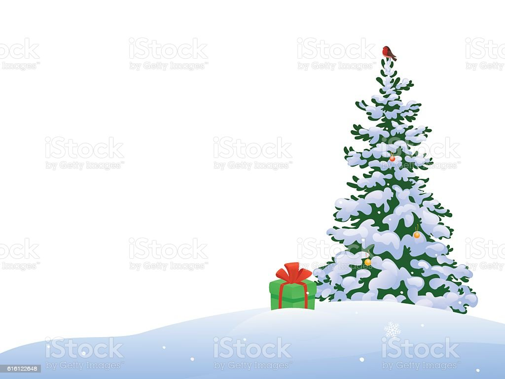 Christmas tree border vector art illustration