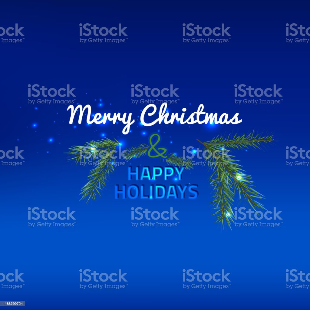 Christmas tree branch vector art illustration