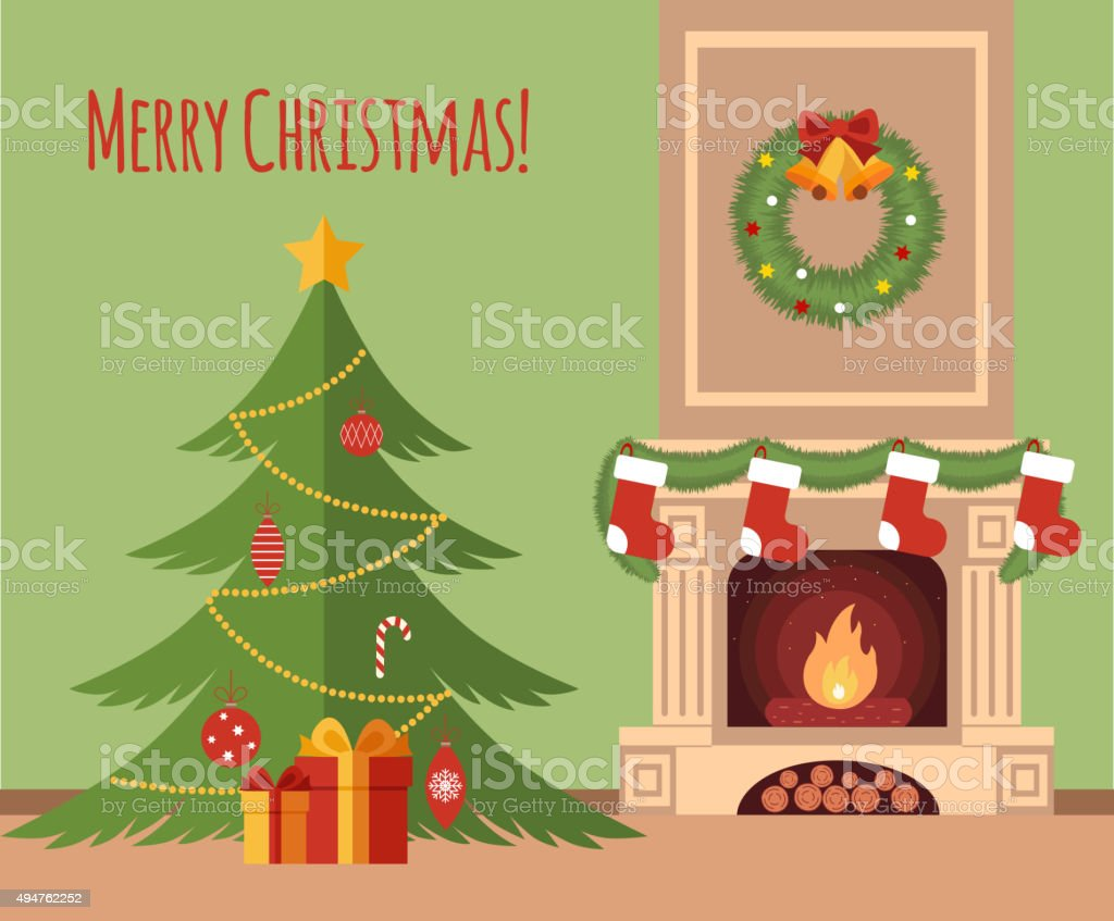 Christmas tree by the fireplace vector art illustration