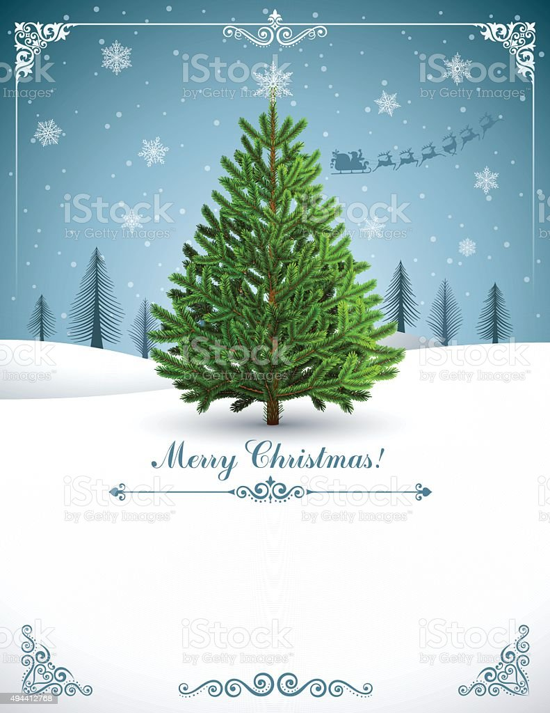 Christmas Tree Card vector art illustration