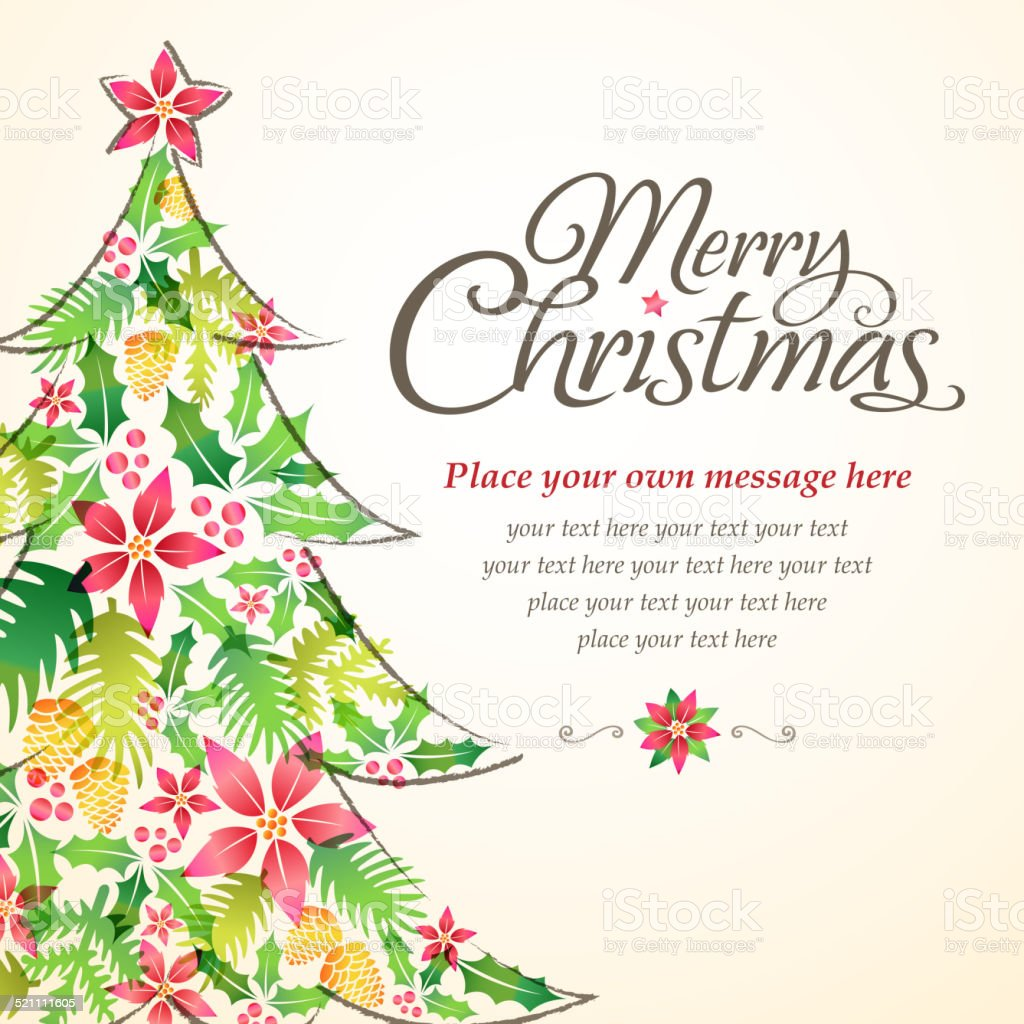 Christmas Tree Card vector art illustration