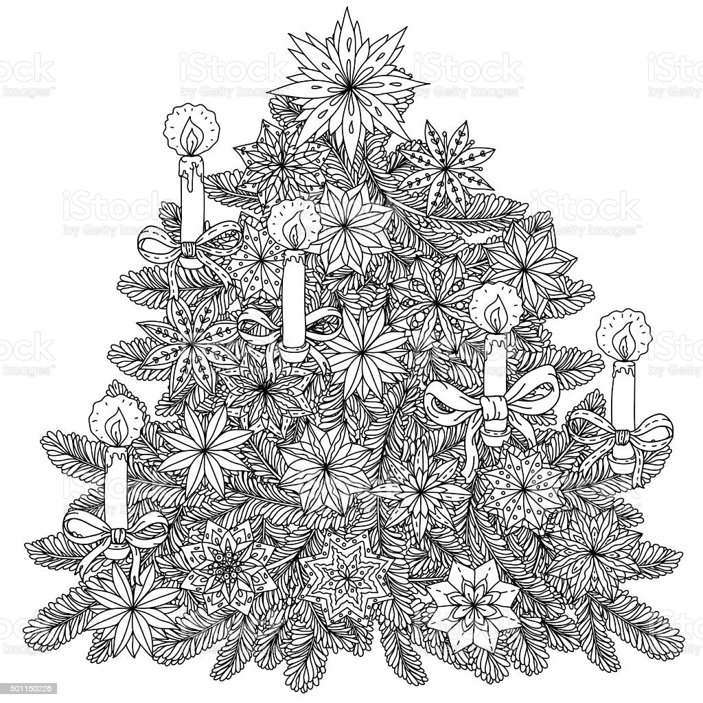 Christmas treeChristmas tree ornament vector art illustration