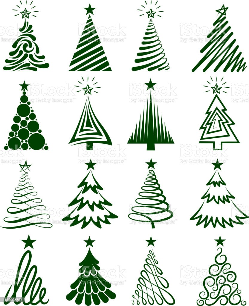 Various Christmas Tree Collection vector art illustration