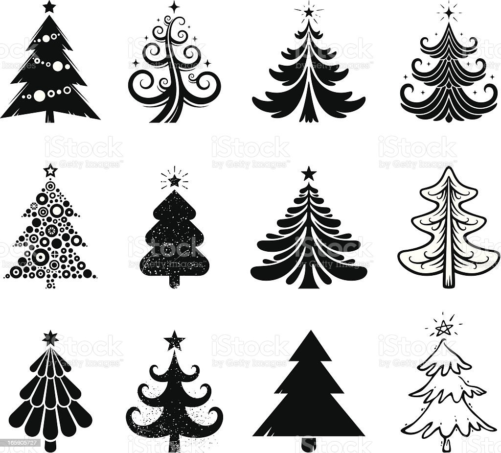 Christmas tree collection vector art illustration