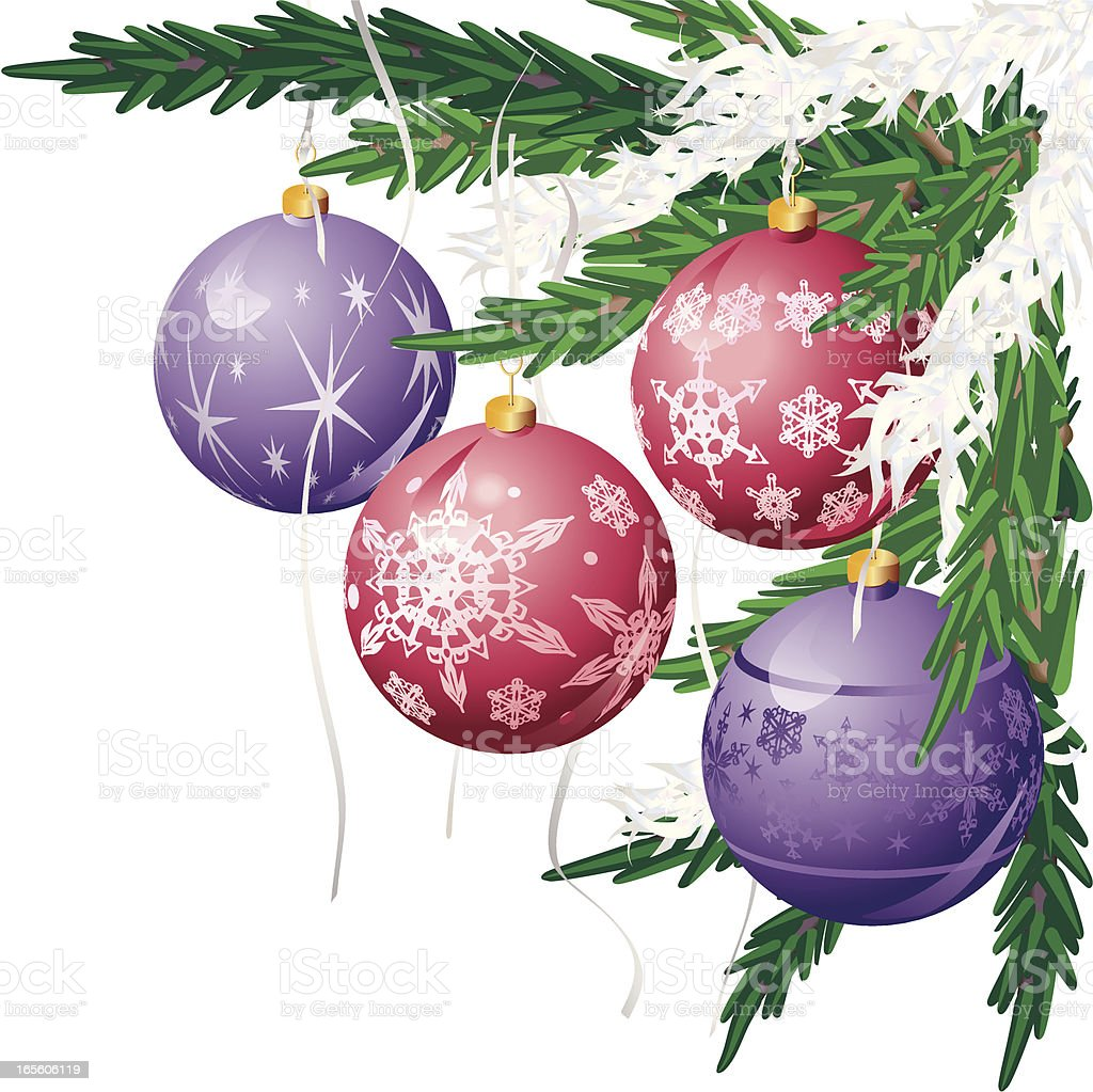 Christmas Tree Corner with Baubles in Red and Purple royalty-free stock vector art