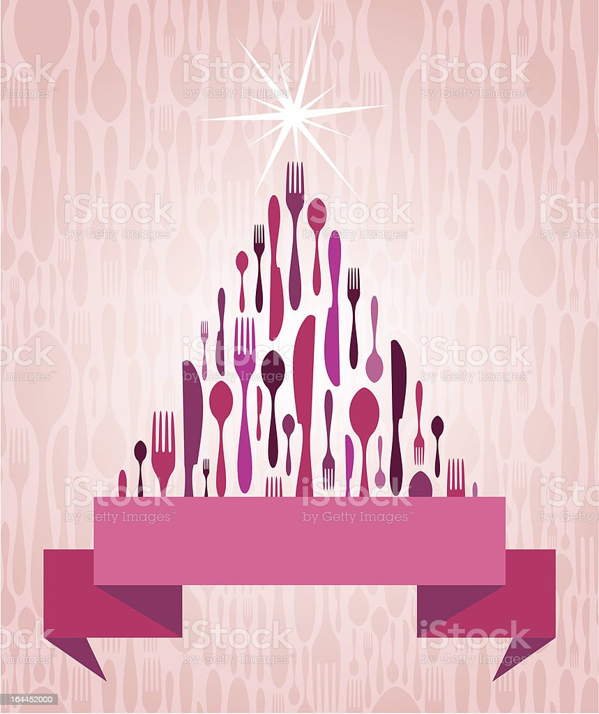 Christmas Tree Cutlery vector art illustration