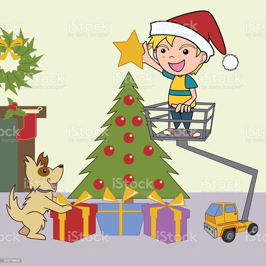Christmas tree decorating, vector illustration vector art illustration