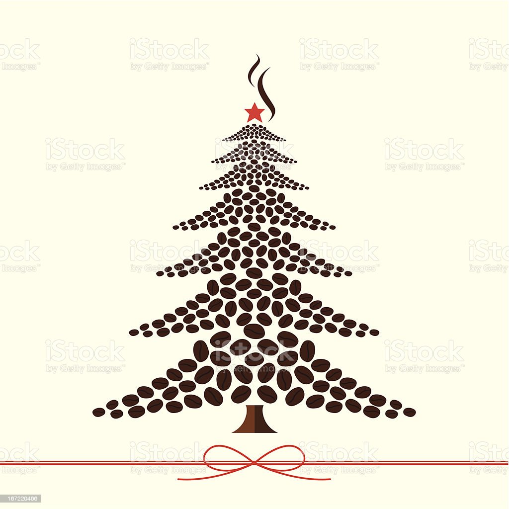 Christmas tree design from coffee beans royalty-free stock vector art