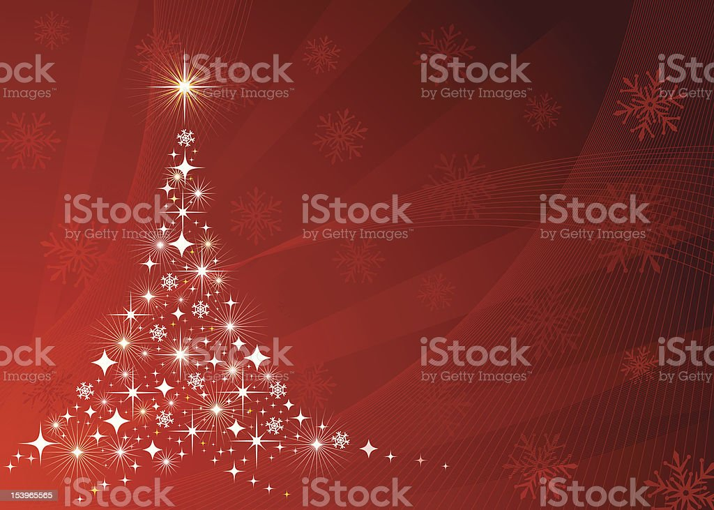 Christmas tree design with sparkles making up the tree shape vector art illustration