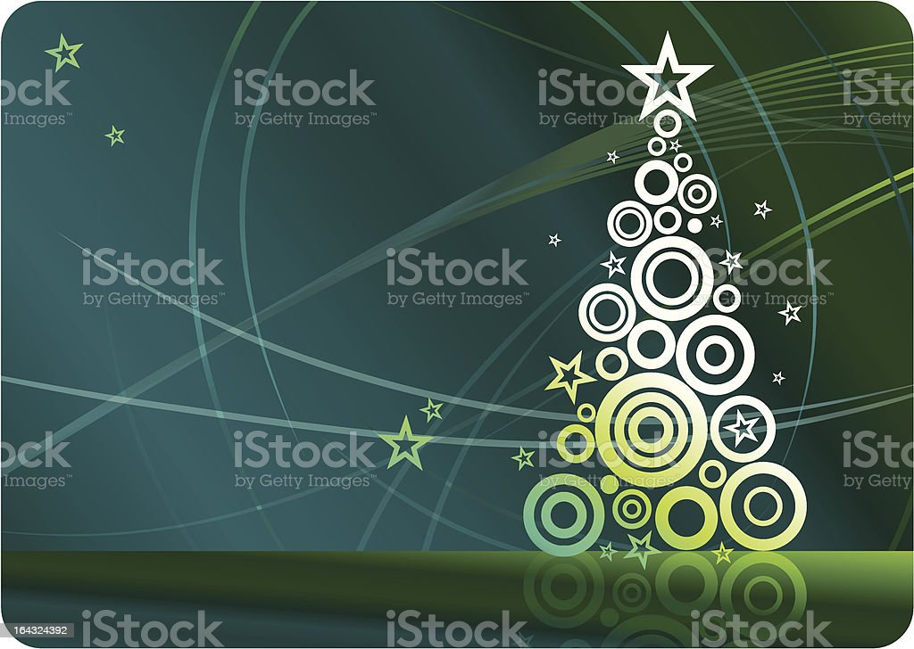 A Christmas tree drawing with circles vector art illustration