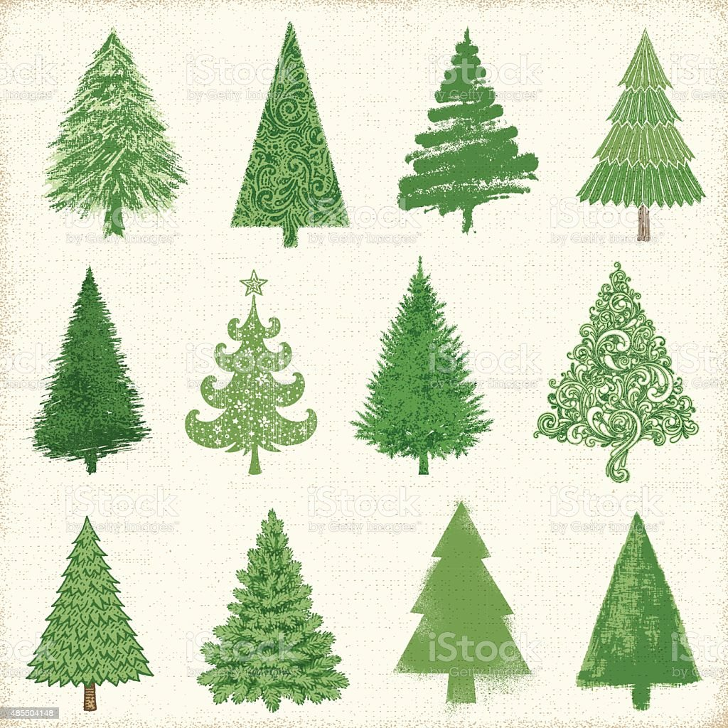 Christmas Tree Drawings vector art illustration