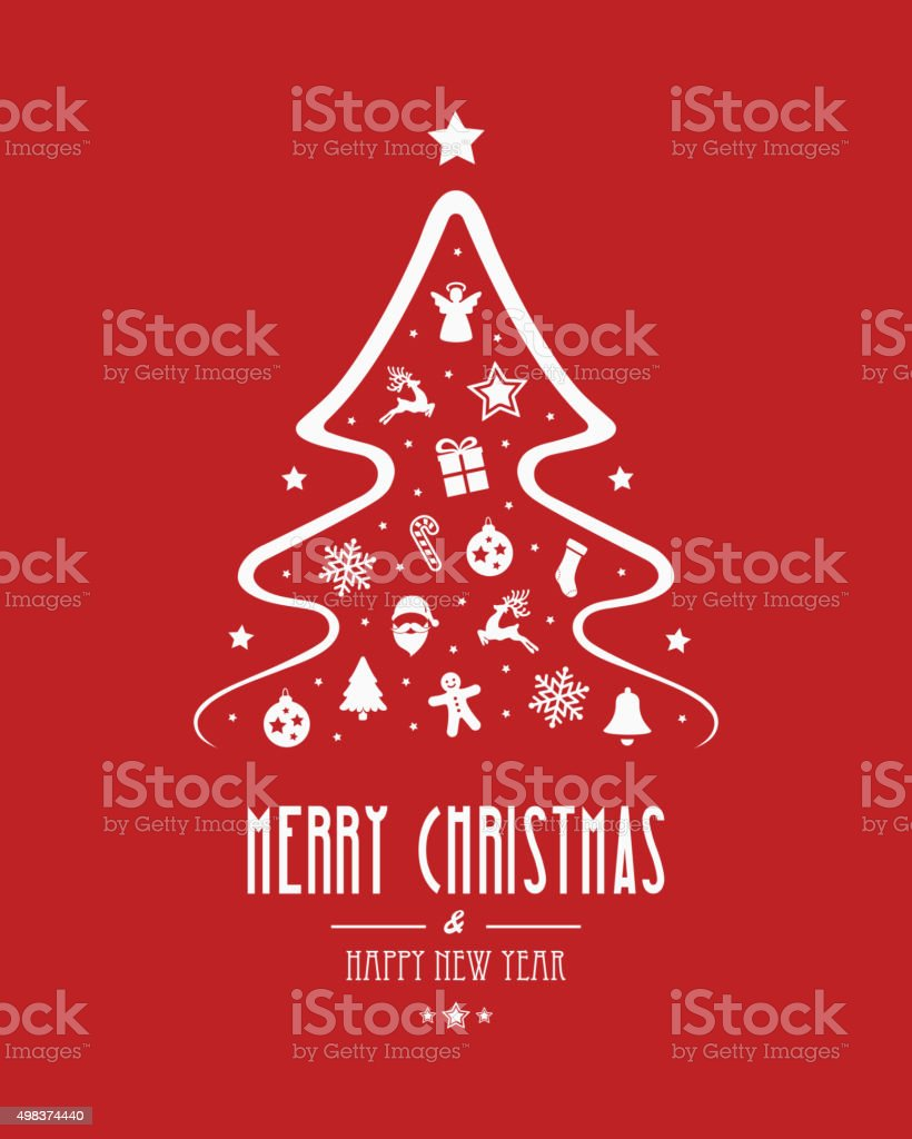christmas tree elements red background vector art illustration