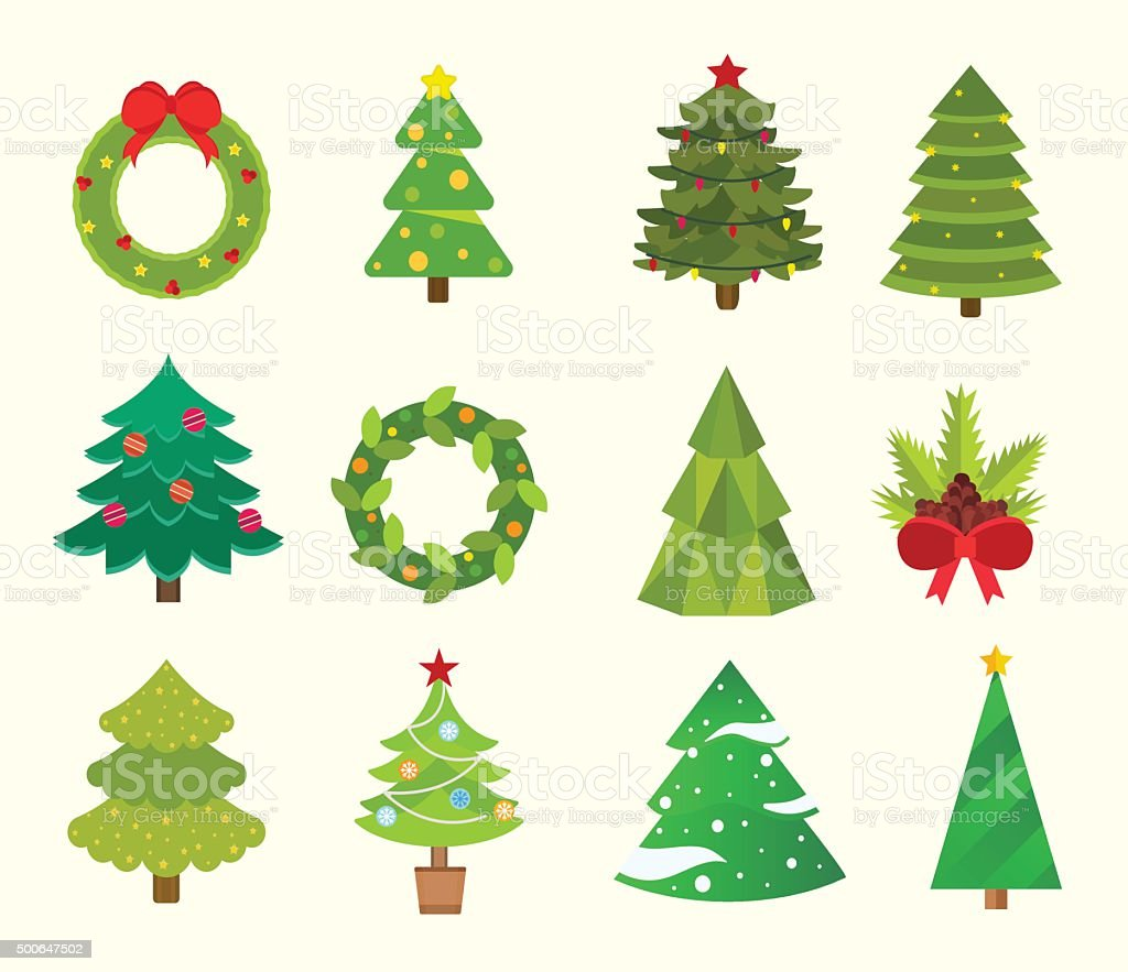 Christmas tree flat icons set vector art illustration