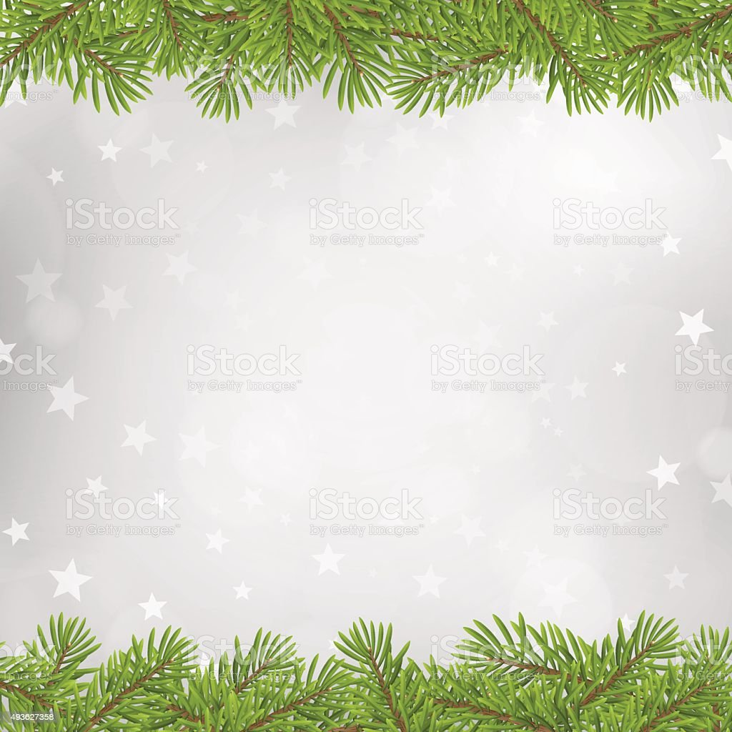 Christmas tree frame on blurred silver star background vector art illustration