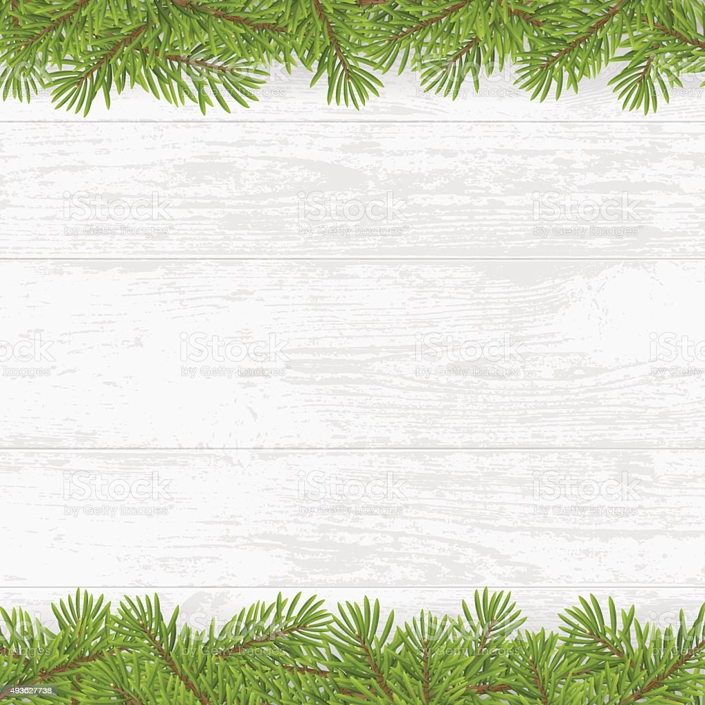 Christmas tree frame on wood plank white background vector art illustration
