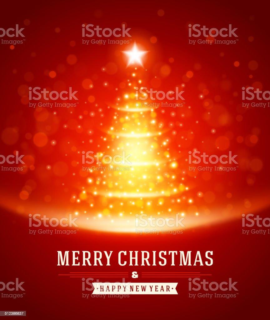Christmas tree from light vector background vector art illustration