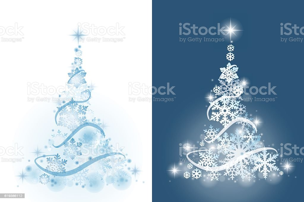 Christmas tree from snowflakes vector art illustration