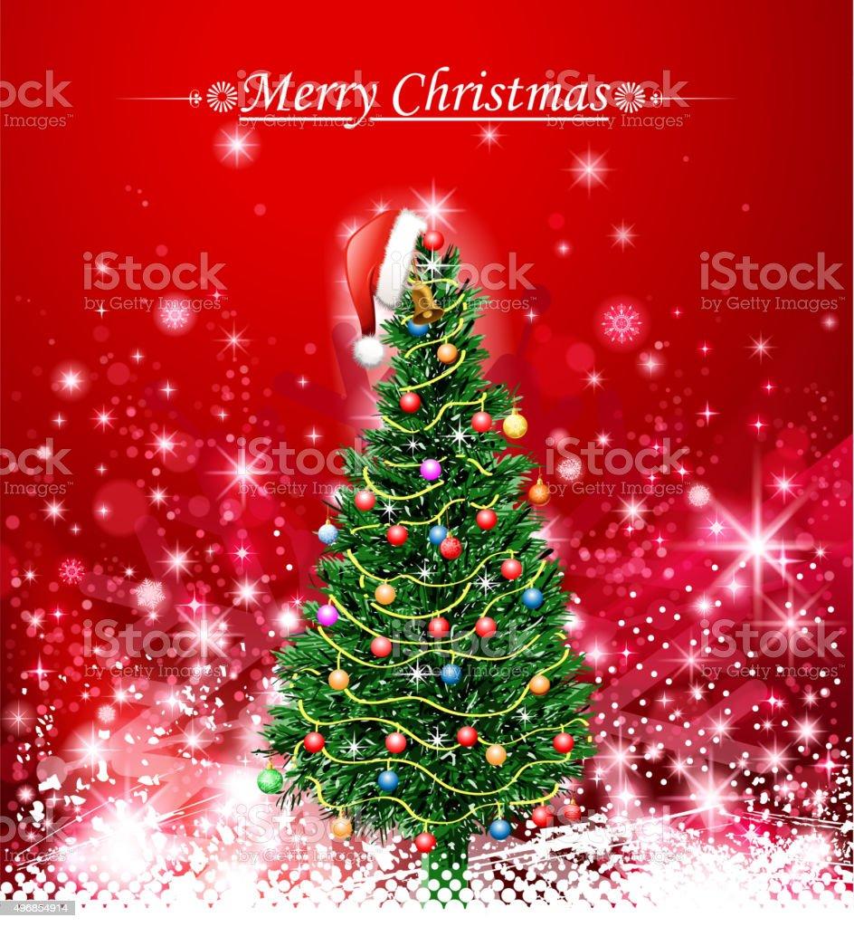 christmas tree greeting vector art illustration