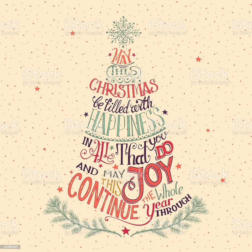 Christmas tree hand-lettering vector art illustration