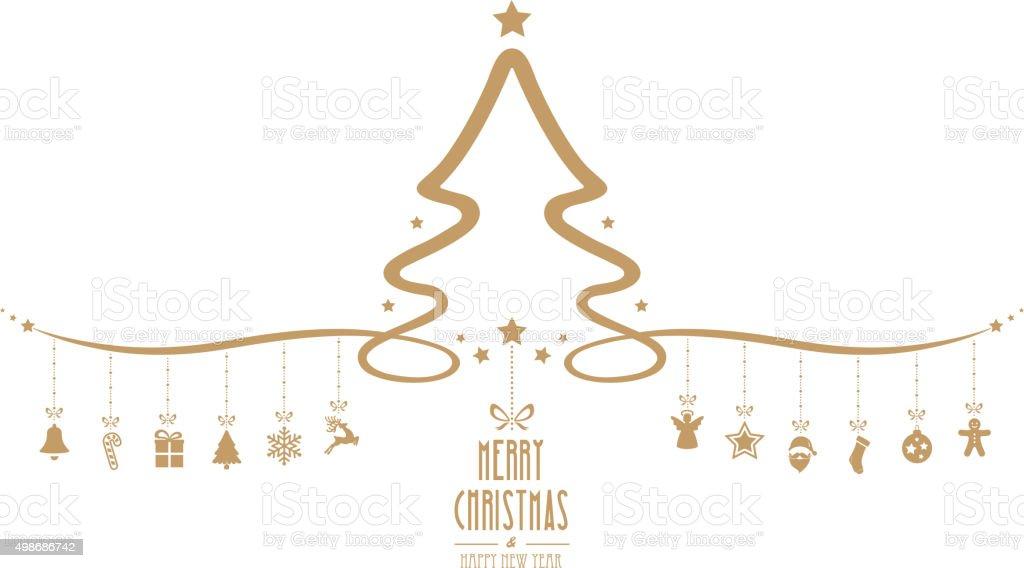 christmas tree hanging decoration elements isolated background vector art illustration