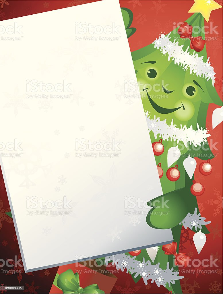 Christmas Tree Holding A Sign Vertical Background royalty-free stock vector art