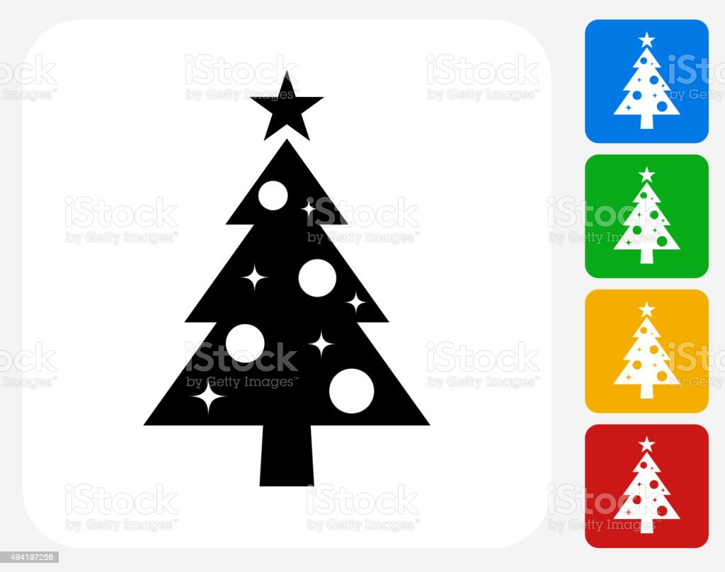 Christmas Tree Icon Flat Graphic Design vector art illustration