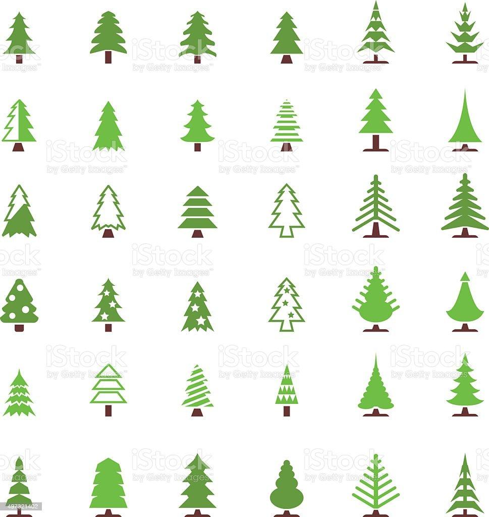 Christmas tree icon set vector art illustration