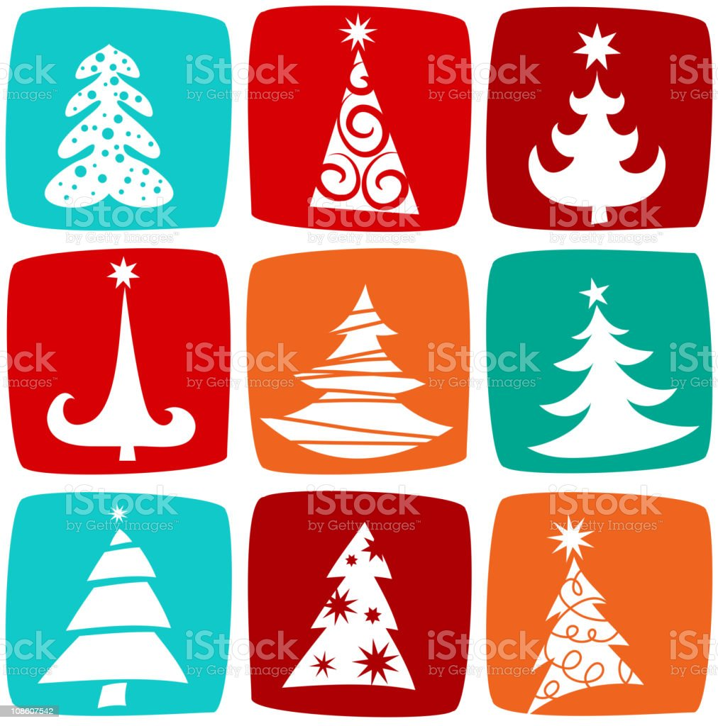 Christmas tree icons and patterns royalty-free stock vector art