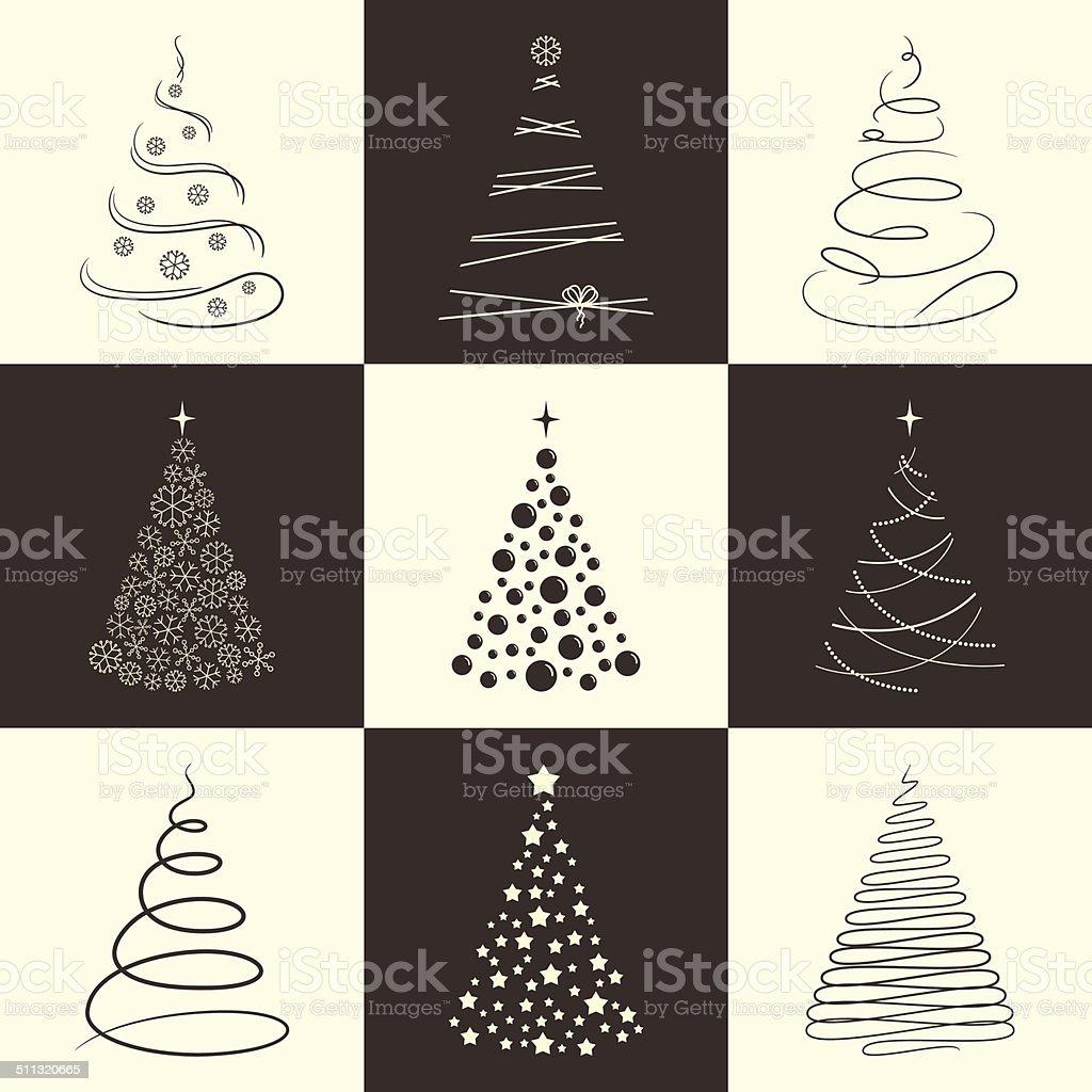 Christmas tree icons vector art illustration