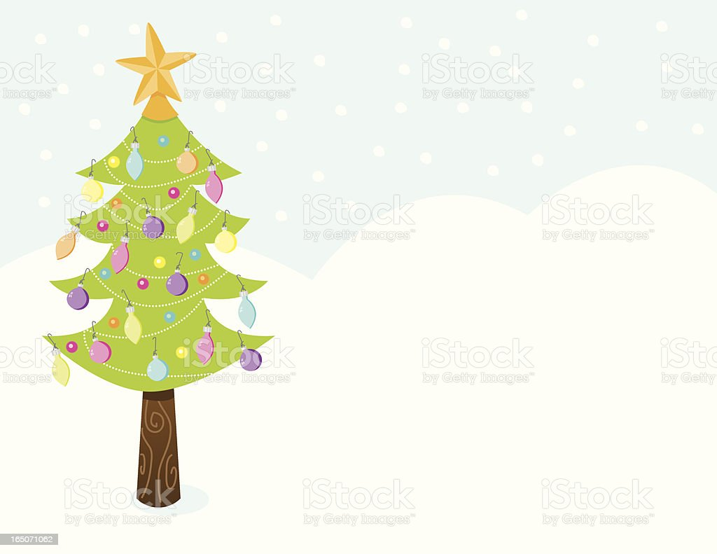 Christmas Tree In A Snowstorm Royalty Free Stock Vector Art