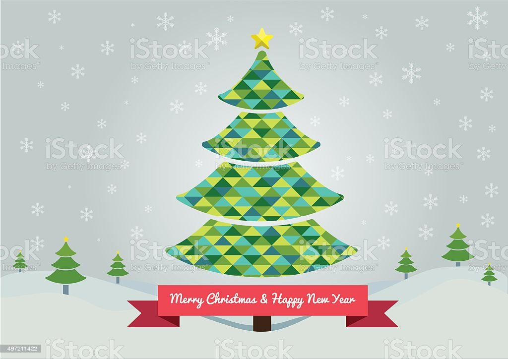 Árbol De Navidad Abstracto Con Colores Verde Illustracion Libre de ...