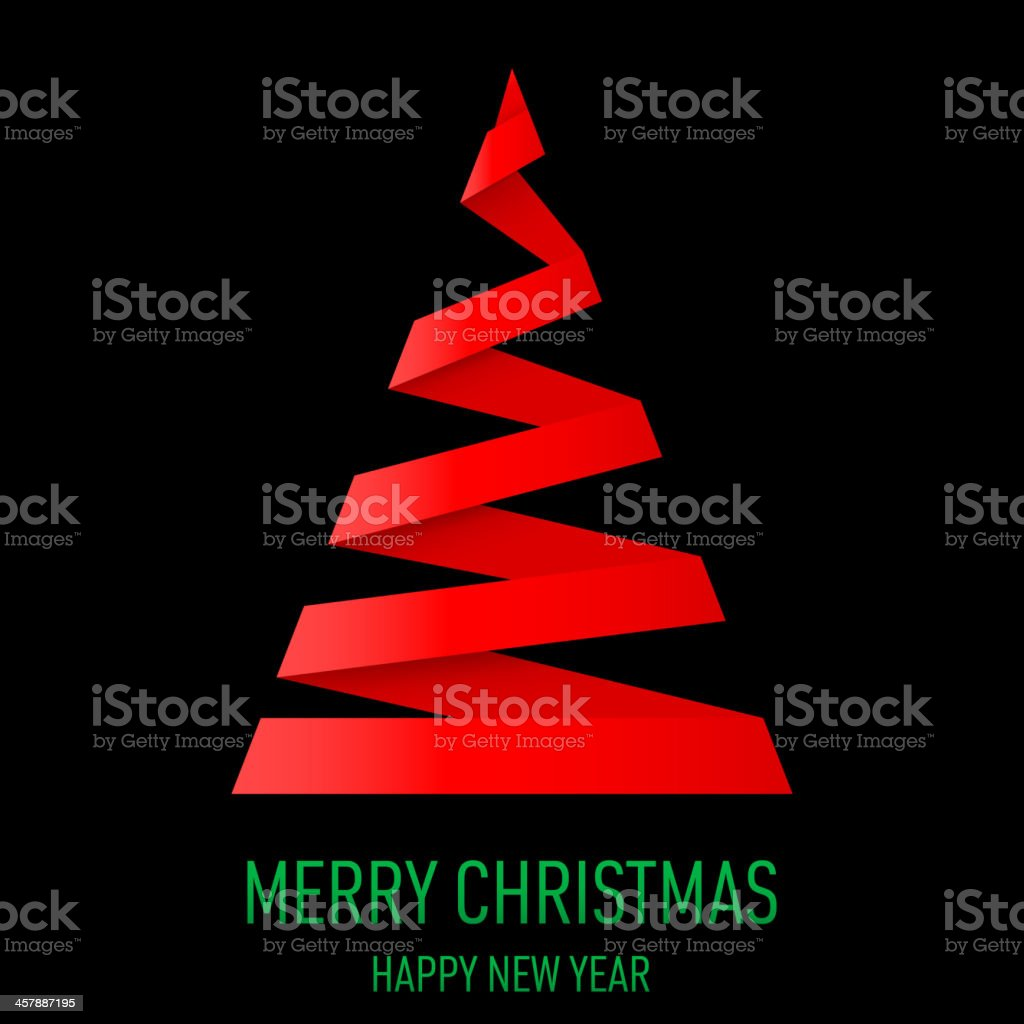 Christmas tree in origami style. vector art illustration