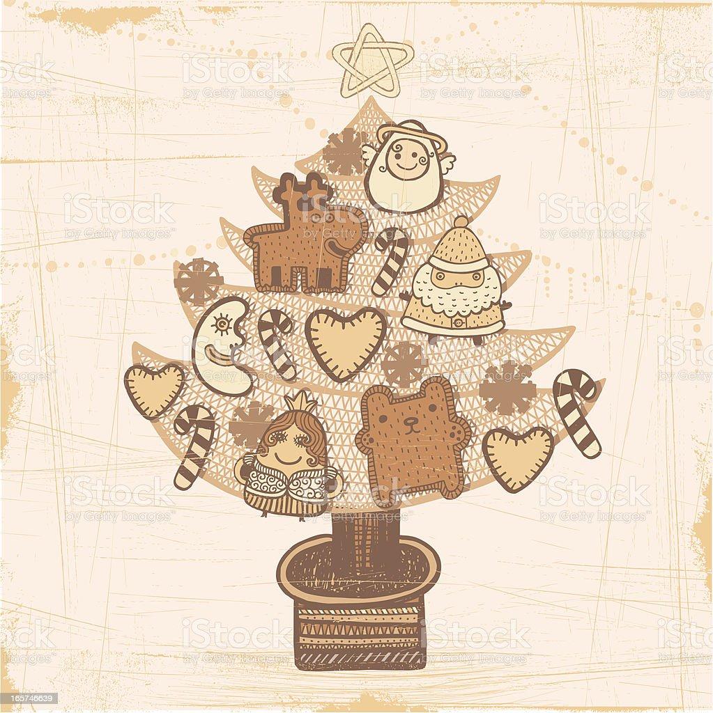 Christmas tree in sepia vector art illustration