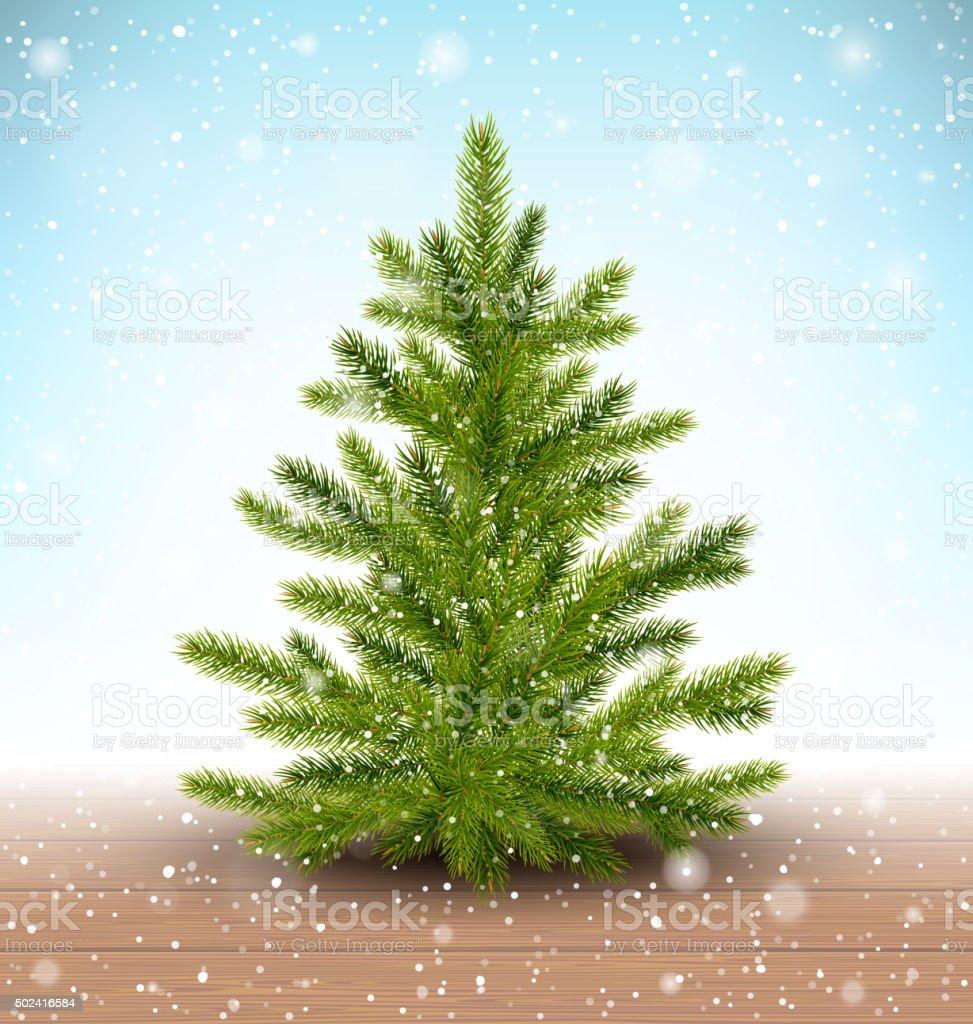 Christmas Tree in Snow on Wooden Floor vector art illustration