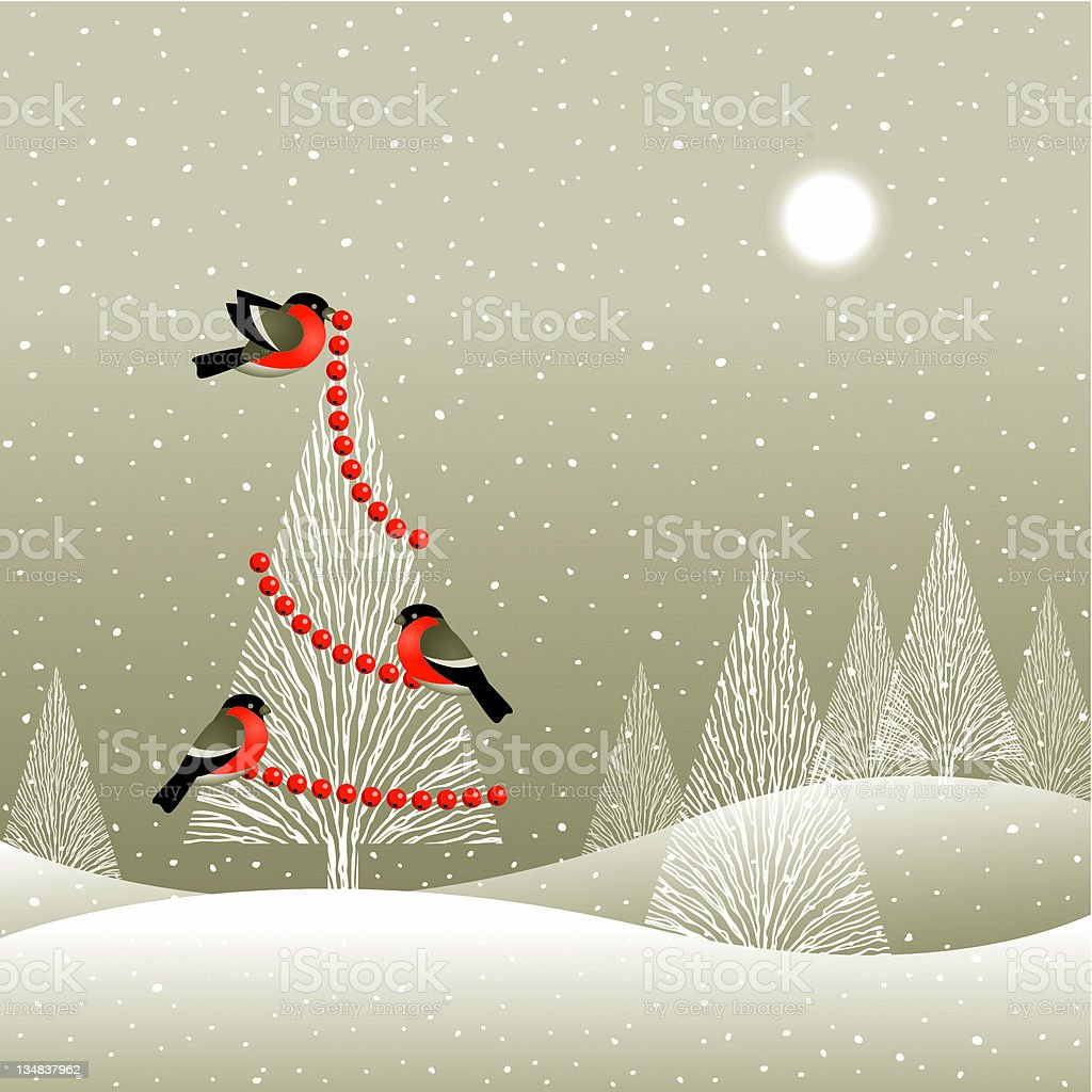 Christmas tree in winter forest royalty-free stock vector art