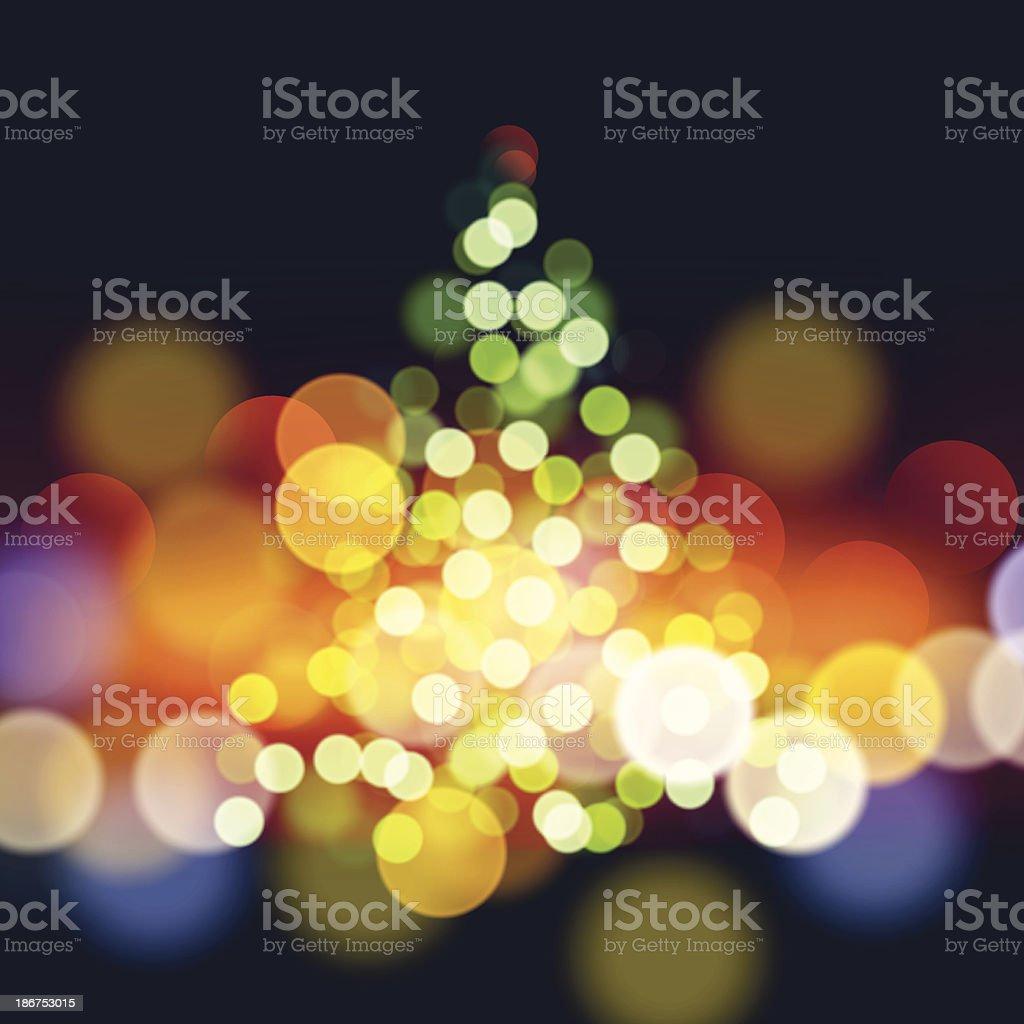 Christmas tree lights background vector art illustration