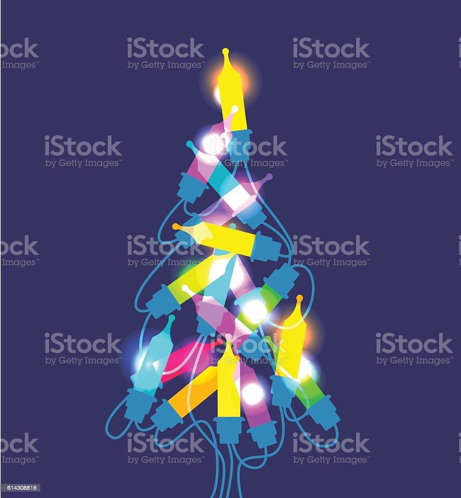 Christmas tree lights vector art illustration