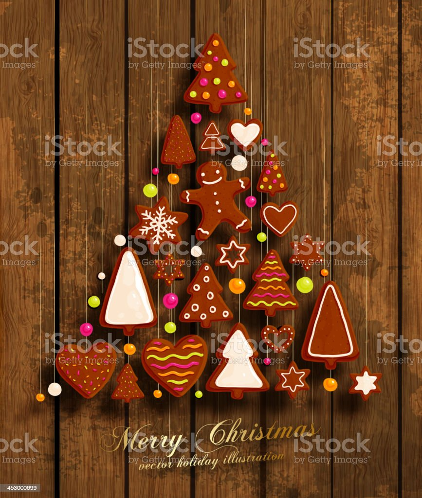 Christmas Tree Made From Cookies vector art illustration