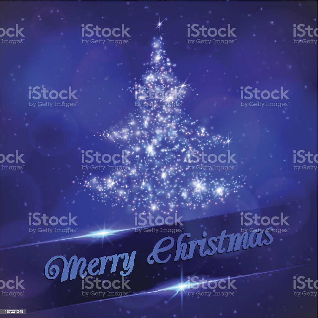Christmas tree made of light particles. royalty-free stock vector art