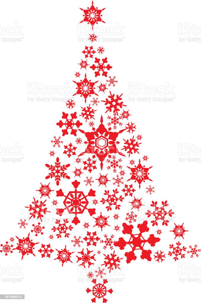 Christmas Tree Made With Snowflakes Decoration Icons royalty-free stock vector art