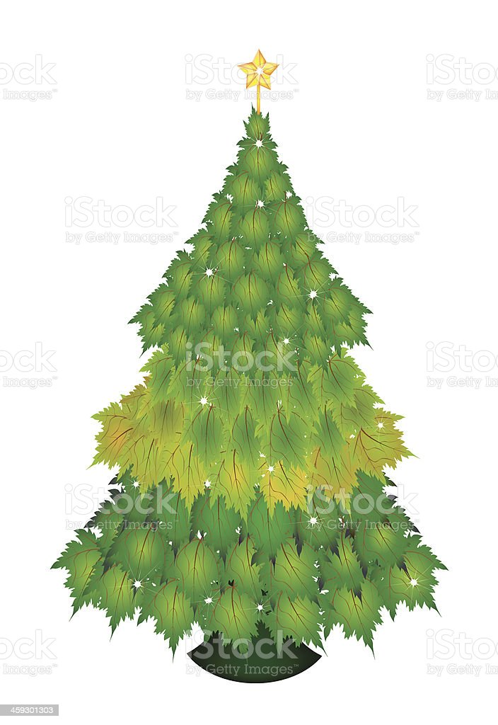 Christmas Tree of Green Maple Leaves royalty-free stock vector art