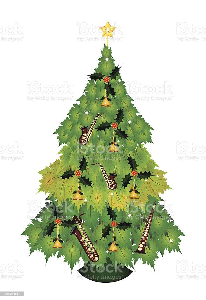 Christmas Tree of Green Maple Leaves with Ornament royalty-free stock vector art
