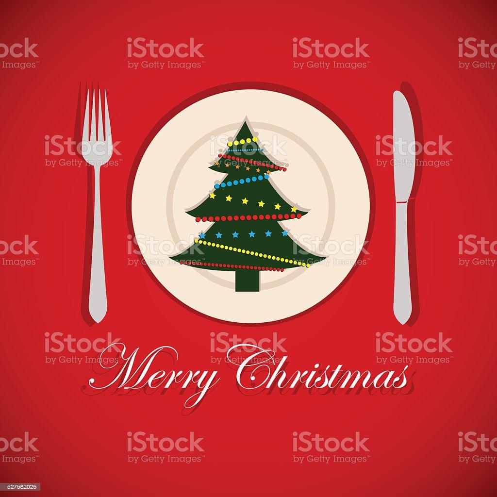 Christmas tree on a platter vector art illustration