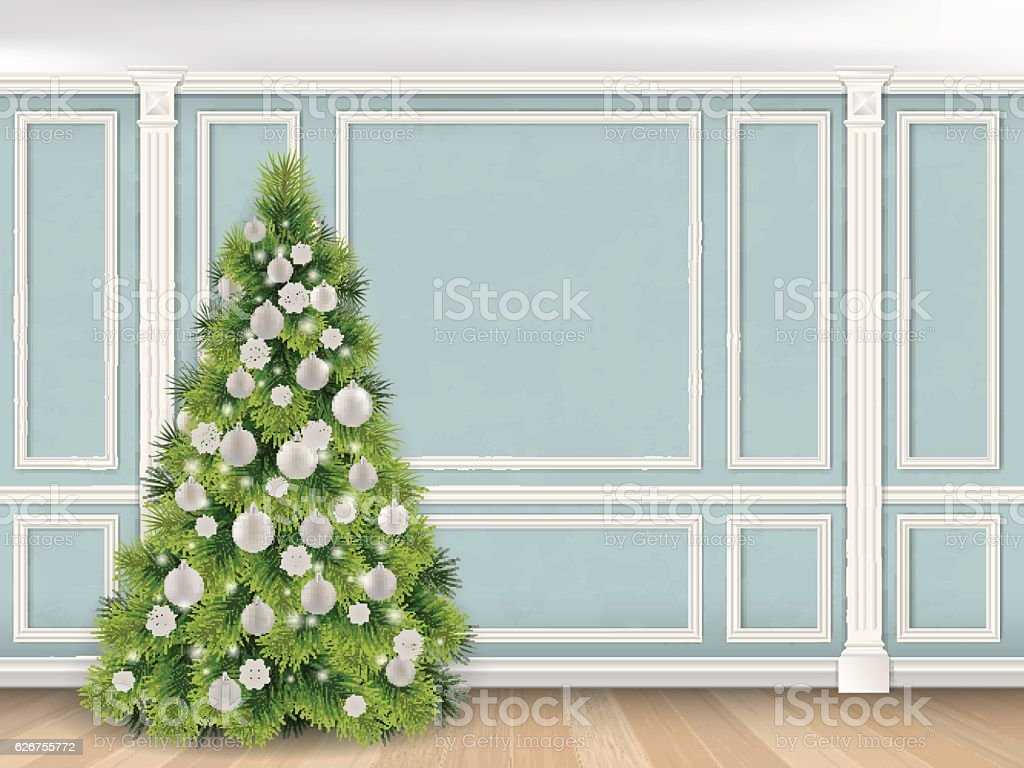 Christmas tree on Blue wall with pilasters background vector art illustration