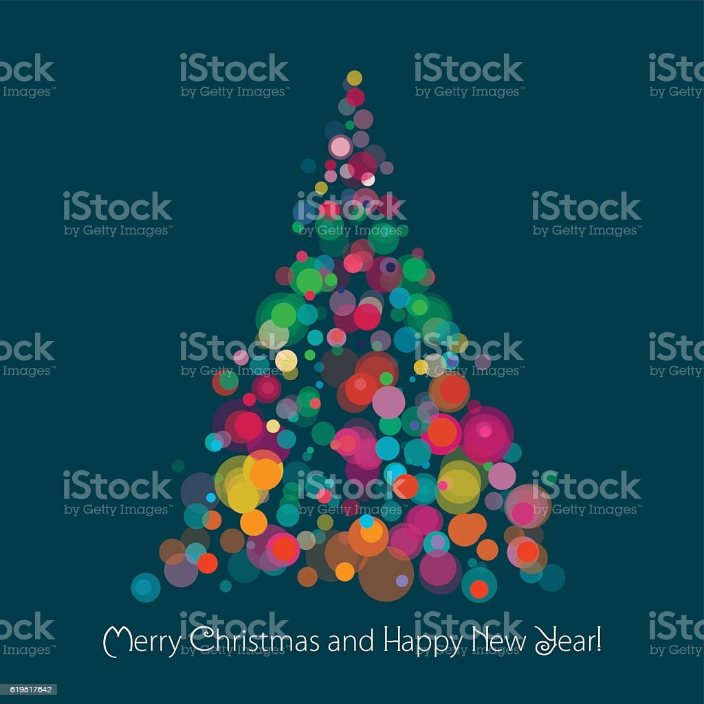 Christmas Tree On Dark Background vector art illustration