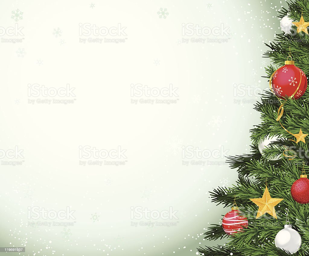 Christmas Tree on Edge of Frame with Ornaments royalty-free stock vector art