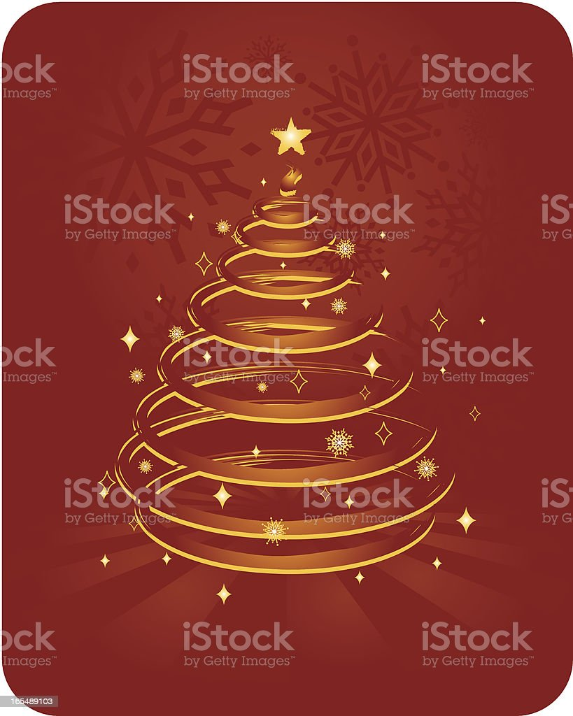 Christmas Tree on Red royalty-free stock vector art