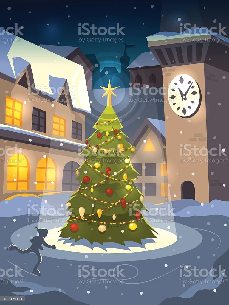 Christmas tree on rink in old town vector art illustration