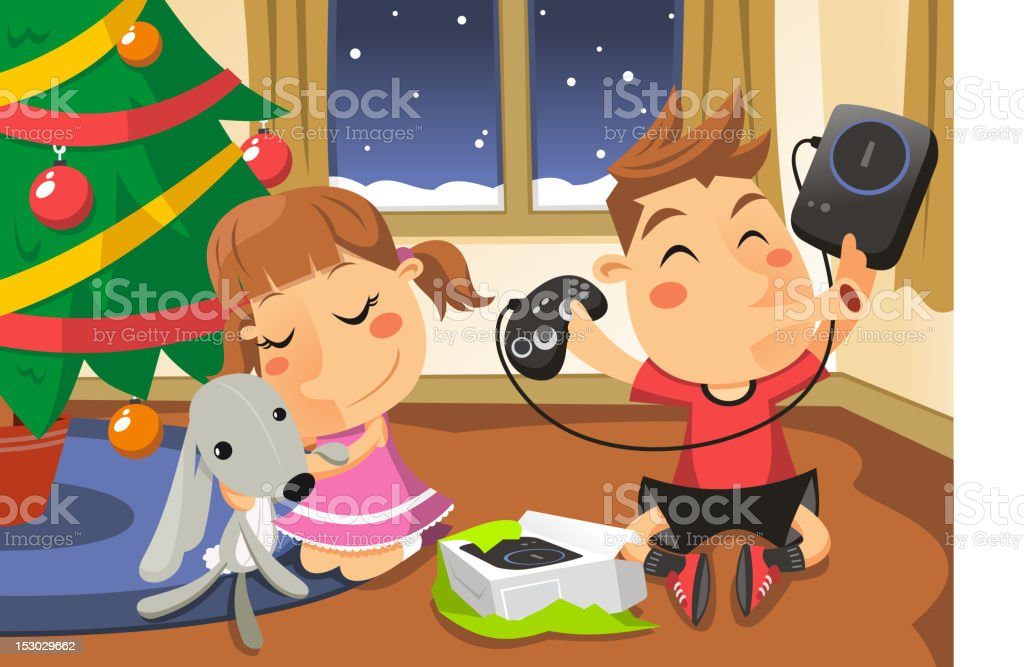 Christmas Tree Opening Presents Time royalty-free stock vector art
